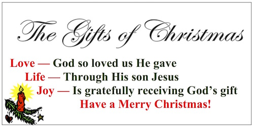 The Gifts of Christmas-Love, Life, and Joy